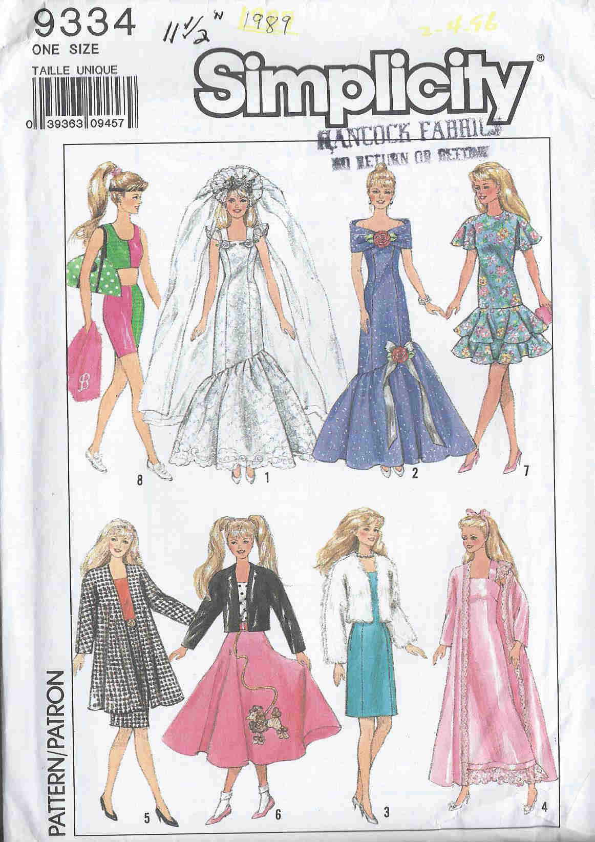 Fashion Doll wedding dress evening gown dress nightgown sewing pattern