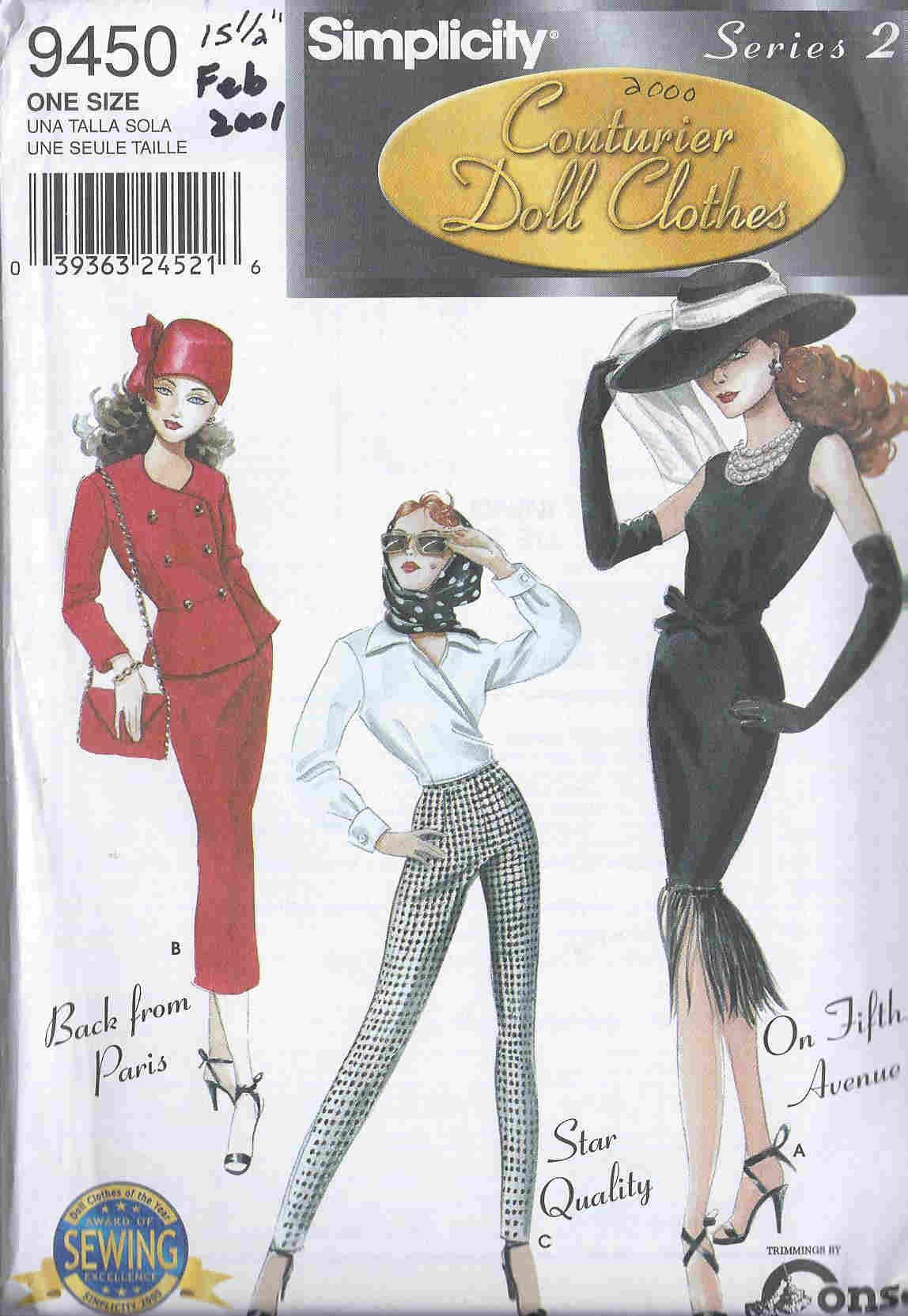 gene fashion doll couture clothes dress hat gloves bag blouse pants scarf sewing pattern