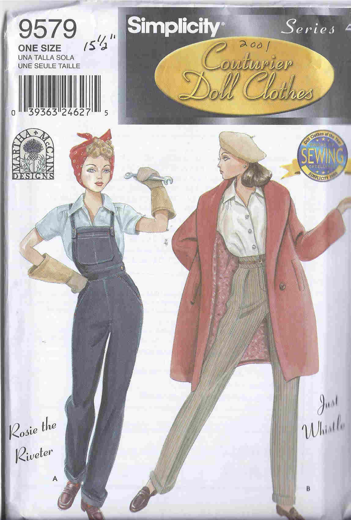 gene fashion doll sewing pattern couture blouse overalls gloves scarf pants coat