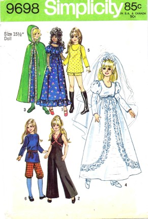 Crissy fashion doll dress jumpsuit cape top blouse knickers sewing pattern
