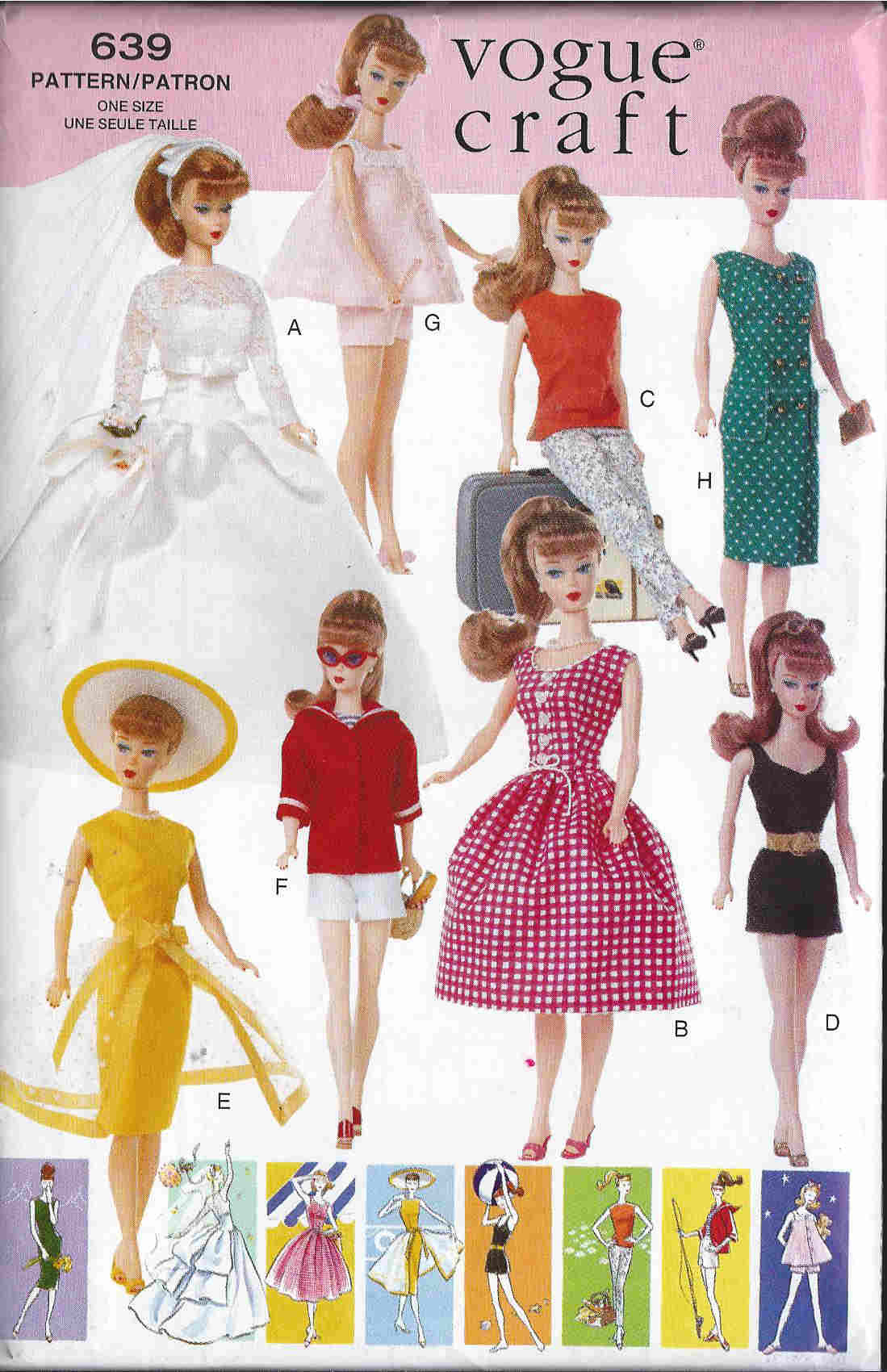 vintage fashion doll clothes sewing pattern
