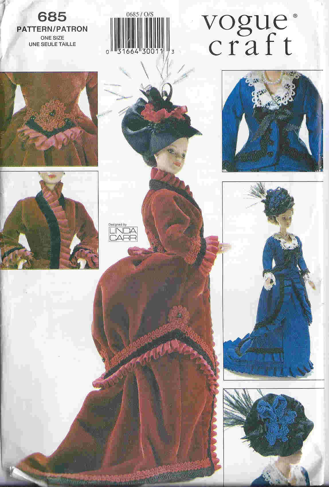 fashion doll historical dress hat sewing pattern