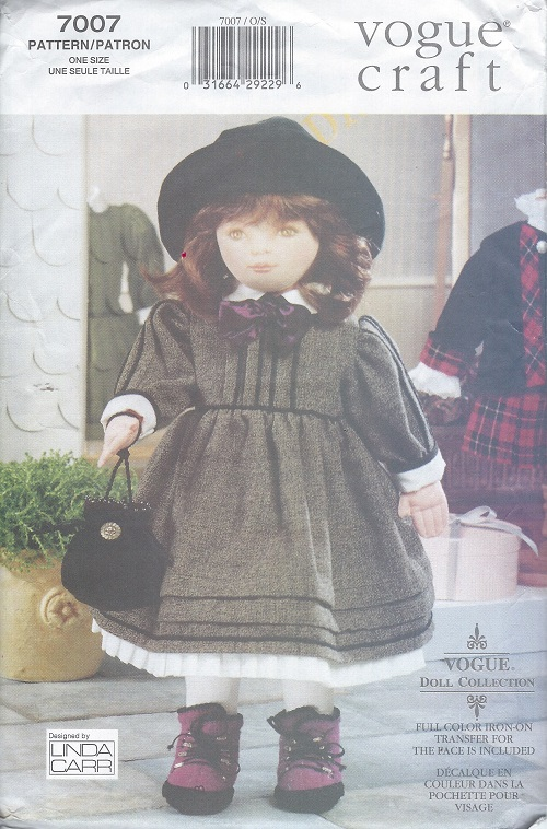 doll transfer dress bloomers hat bag tights sewing pattern