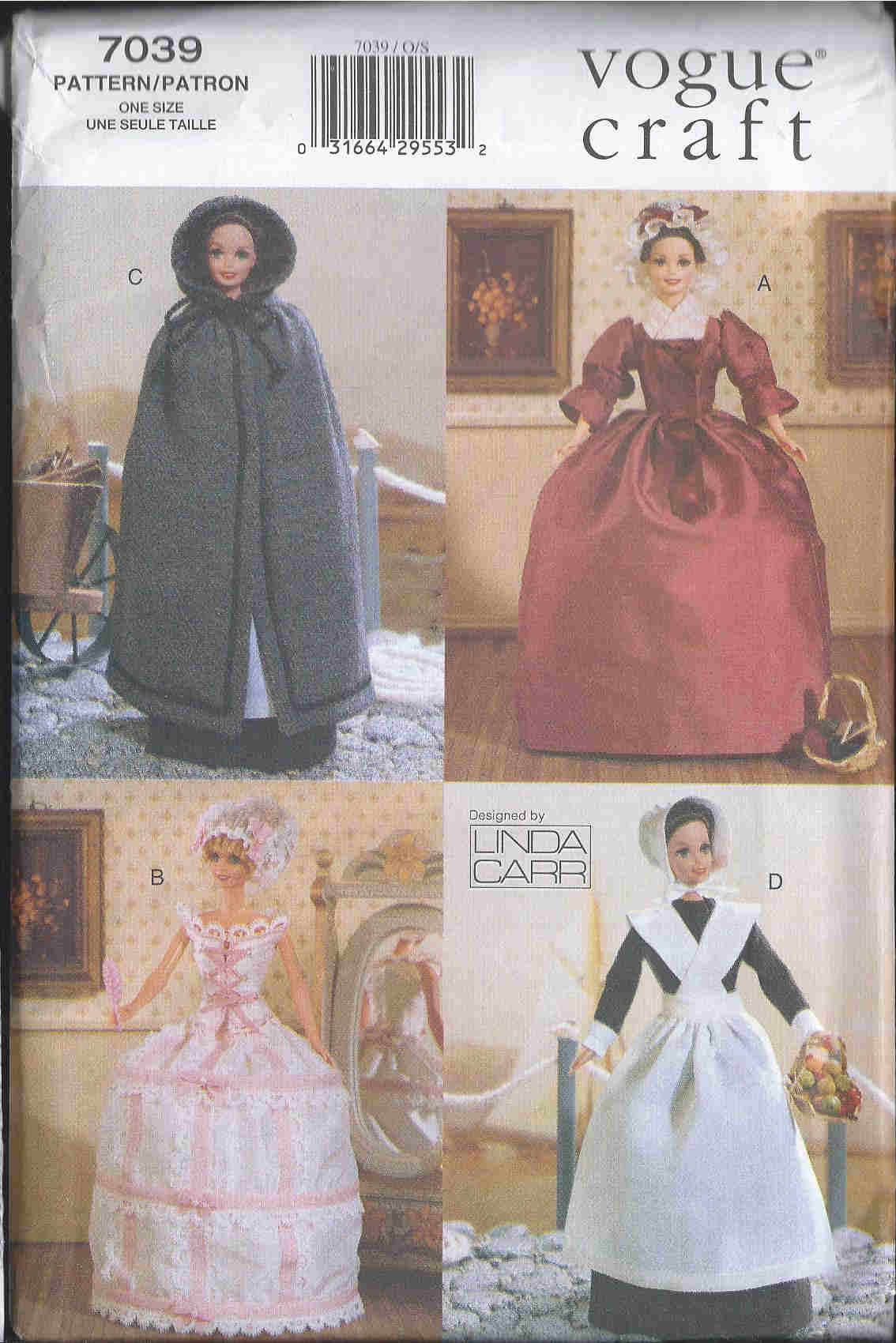fashion doll historical outfits sewing pattern