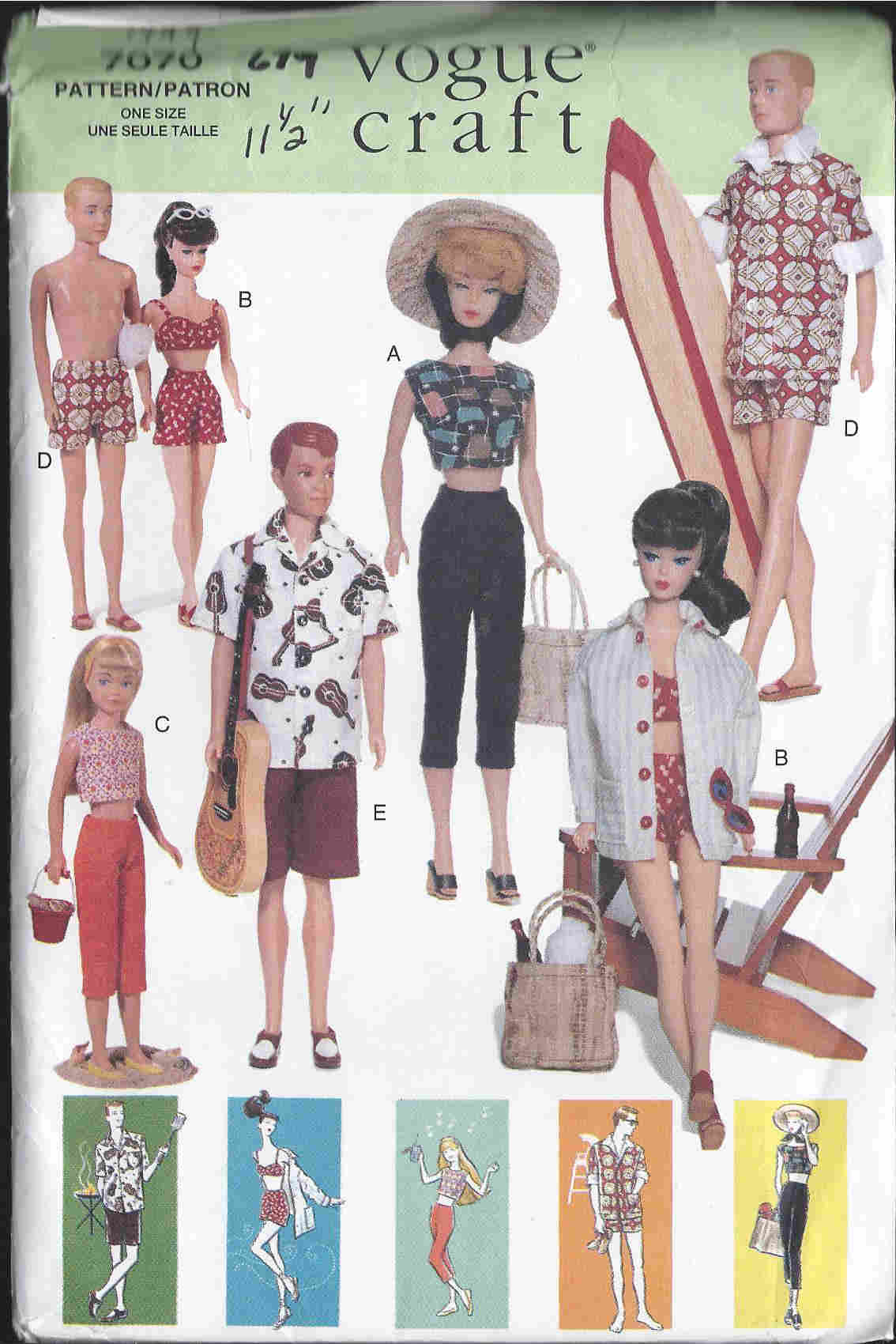 fashion doll barbie ken beachwear sewing pattern