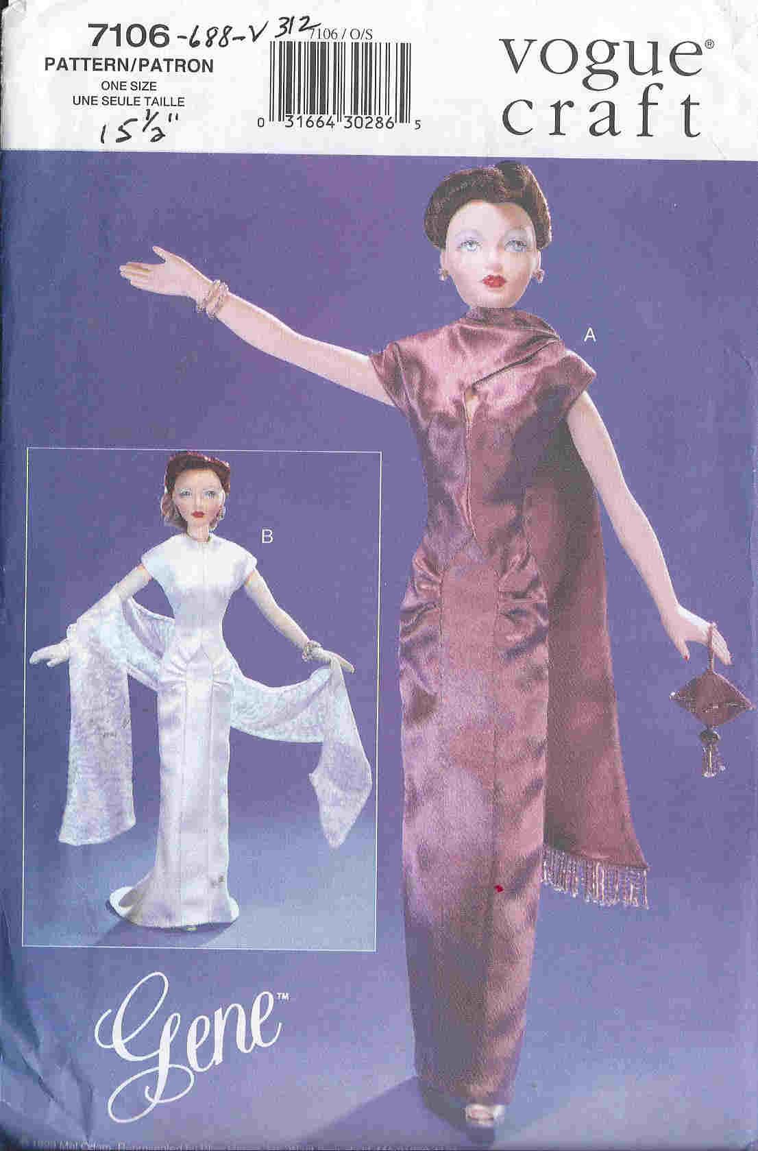 gene evening dress shawl bag gloves fashion doll sewing pattern