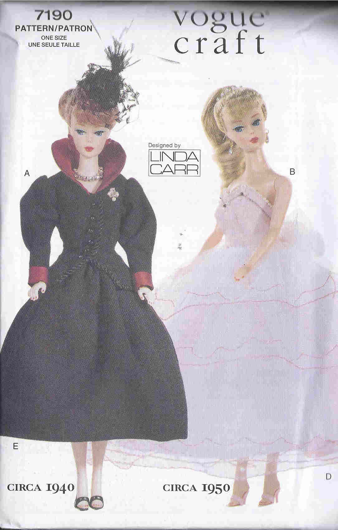 fashion doll jacket skirt hat lingerie sewing pattern