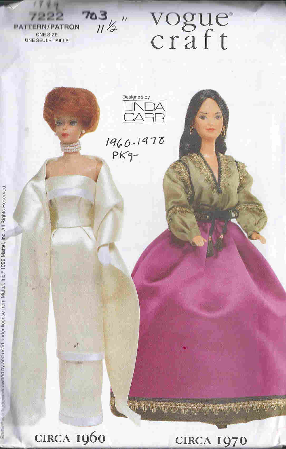 fashion doll dress skirt blouse sewing pattern