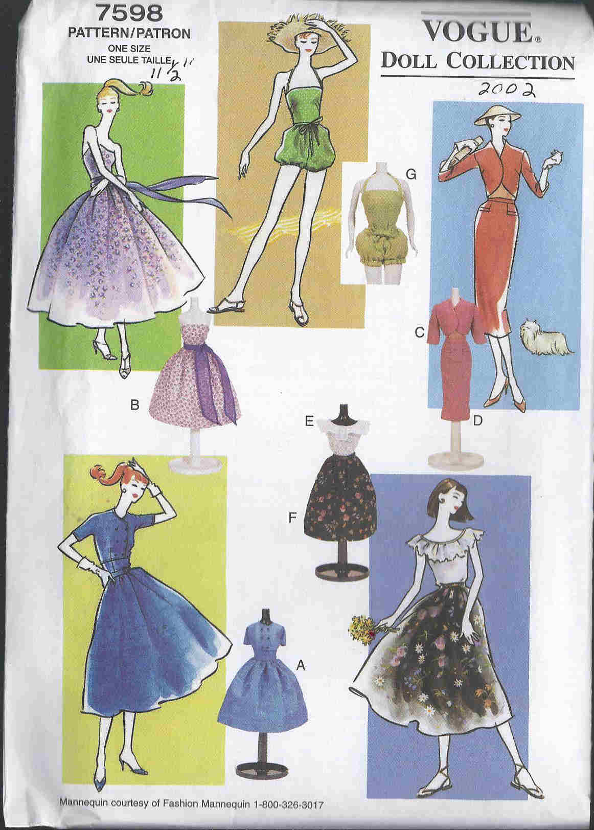 fashion doll jacket dress blouse skirt sewing pattern