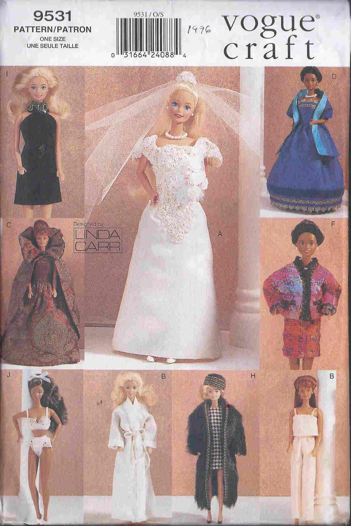 fashion doll dress veil hat coat sewing pattern