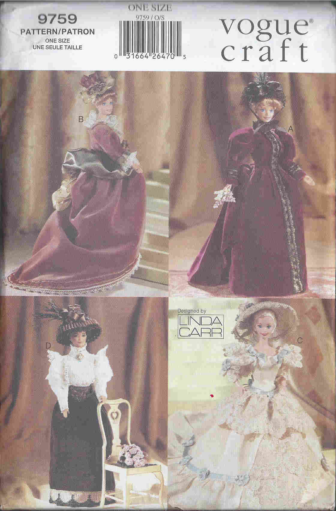 fashion doll costumes sewing pattern