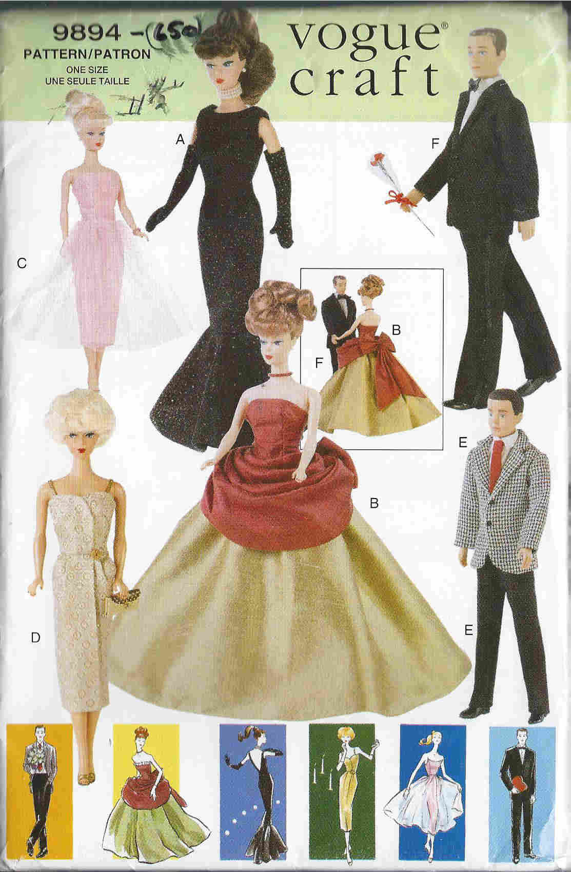 vintage fashion doll dress jacket sewing pattern