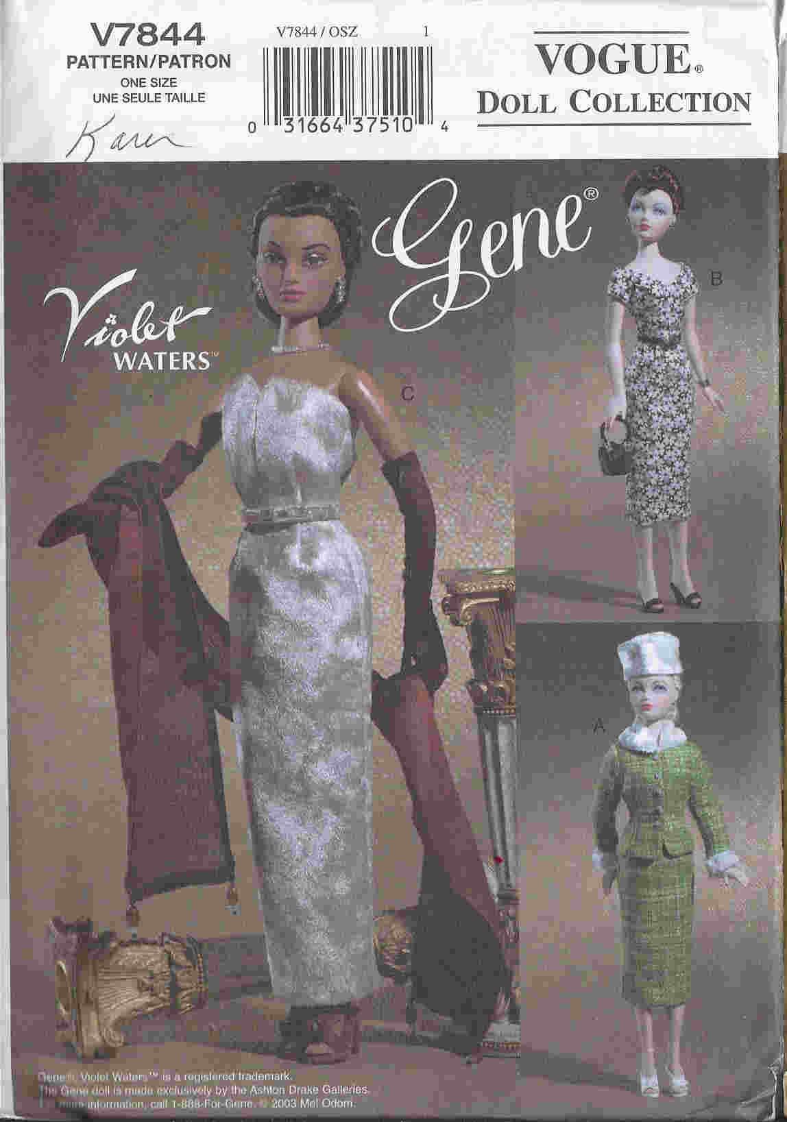 gene trent fashion doll sewing pattern jacket dress hat bag evening gloves