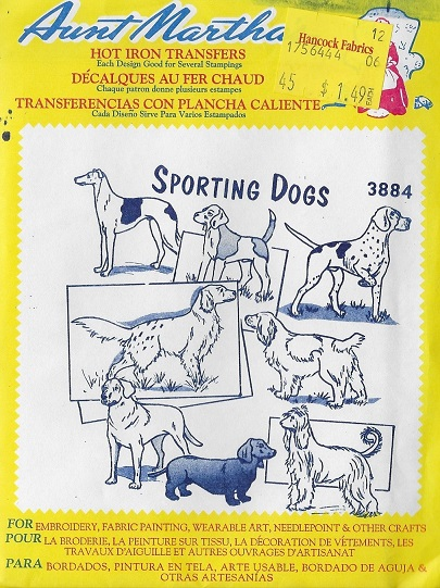 dogs embroidery transfer pattern