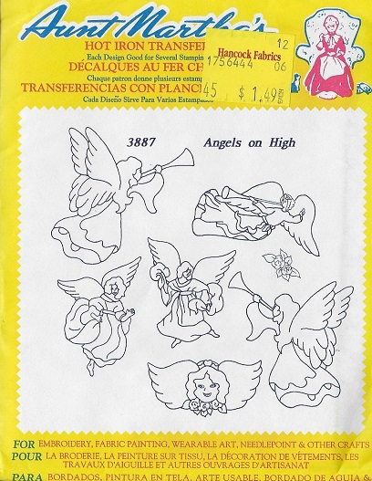 Angels embroidery transfer pattern