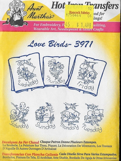 Love Birds embroidery transfer pattern