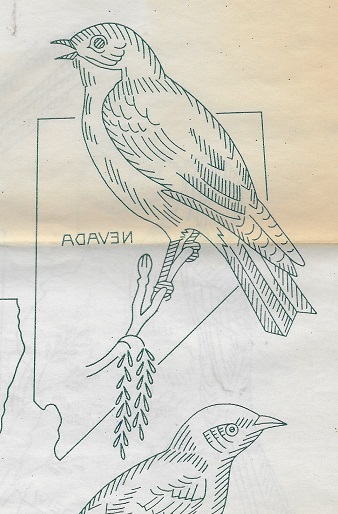 state bird quilt embroidery transfer pattern