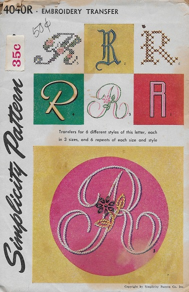 monogram embroidery transfer pattern