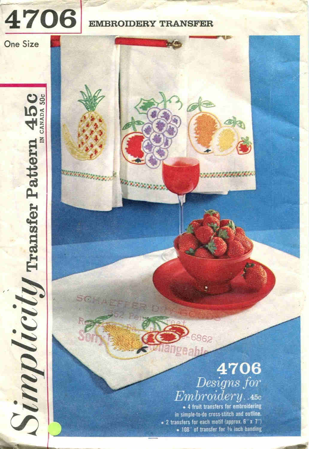 fruit embroidery transfer pattern