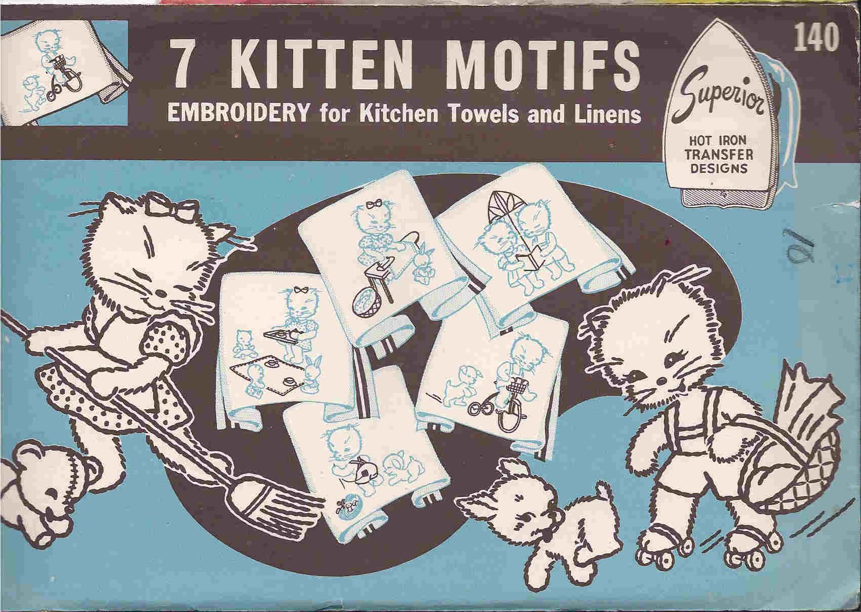 Kitten embroidery transfer pattern