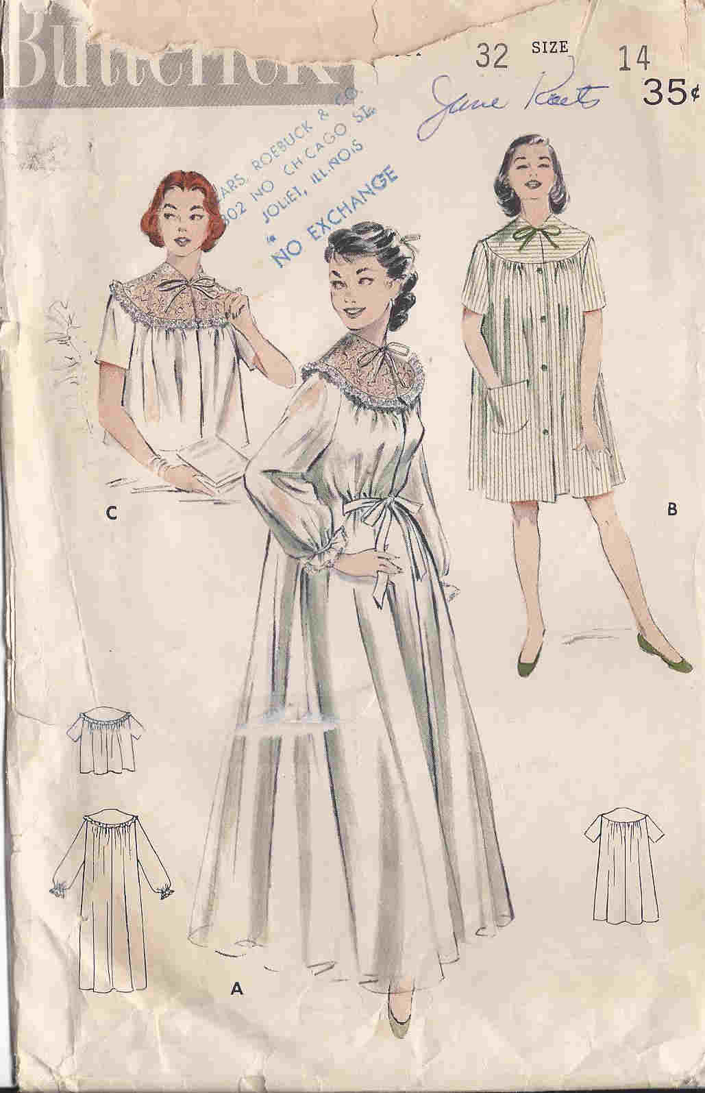 vintage peignoir bedjacket nightgown sewing pattern