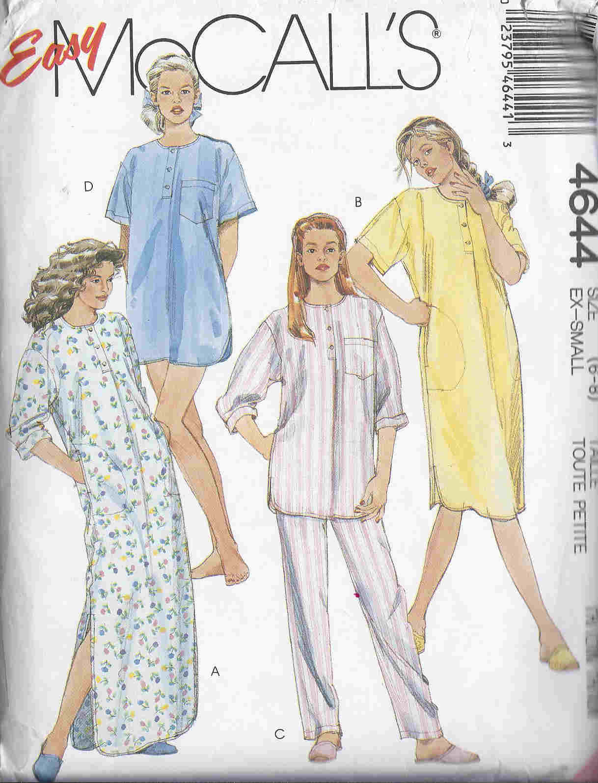 Nightgown Nightshirt Pajamas Slippers sewing pattern