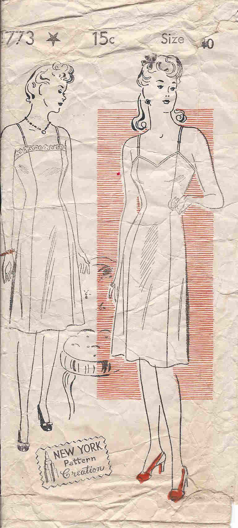 vintage slip sewing pattern