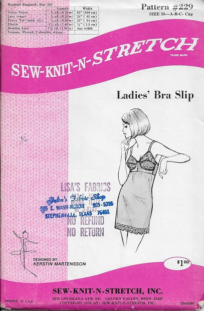 bra slip sewing pattern