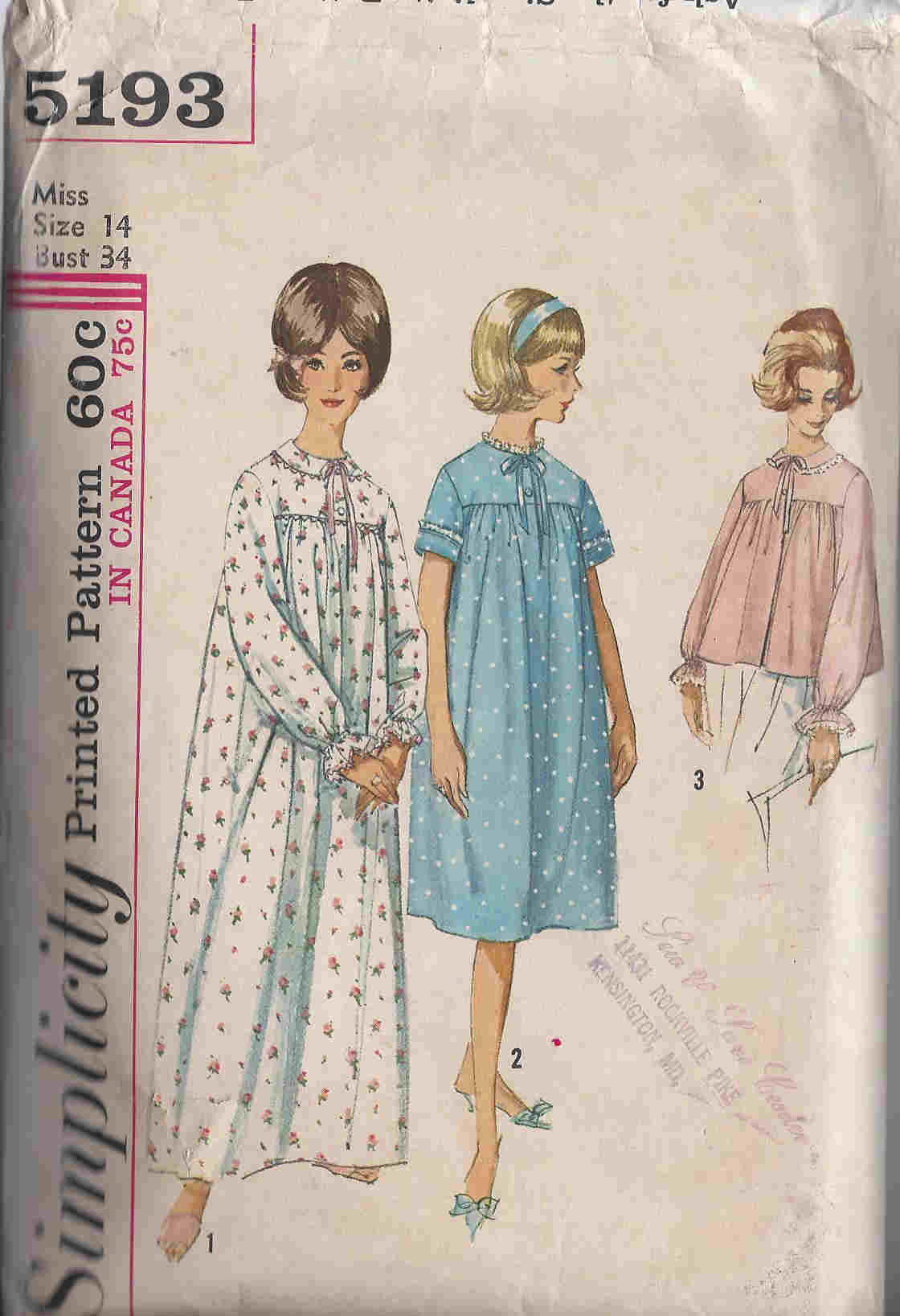 Nightgown Bedjacket sewing pattern