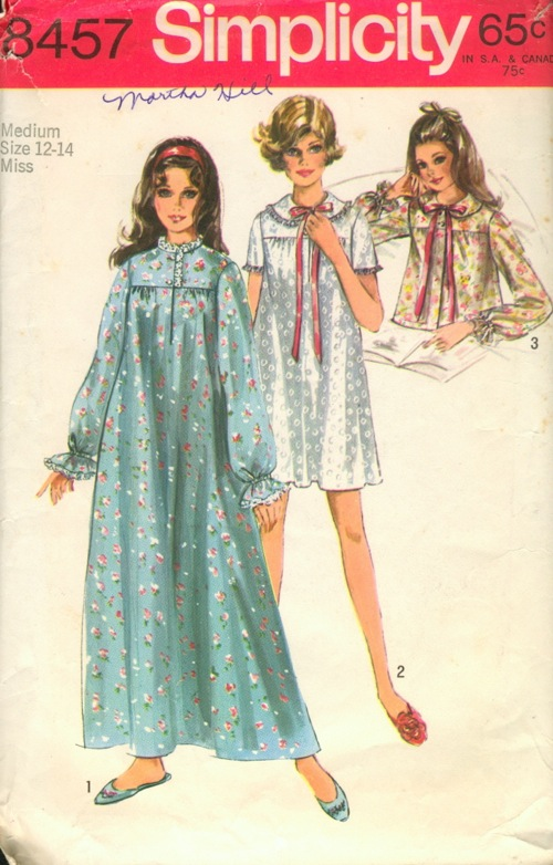 vintage nightgown bedjacket sewing pattern