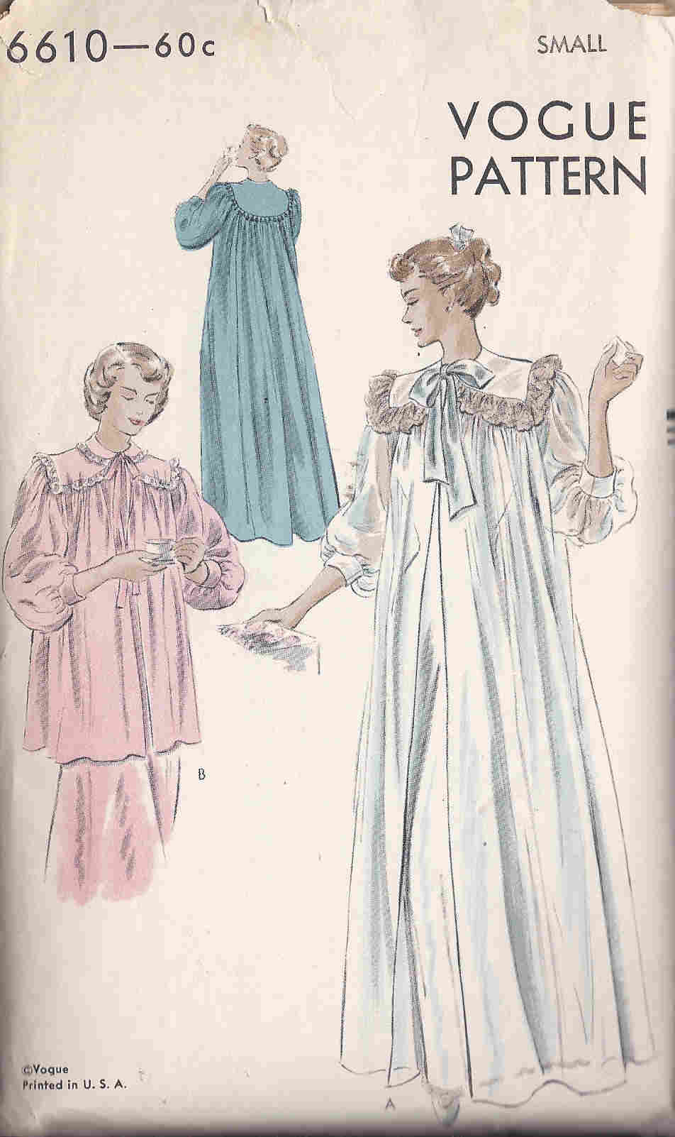 vintage negligee sewing pattern