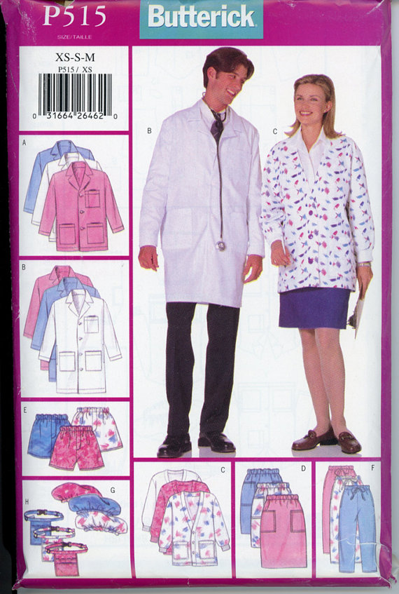scrubs coat jacket skirt pants sewing pattern
