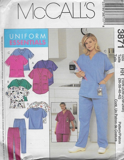 scrubs top pants sewing pattern
