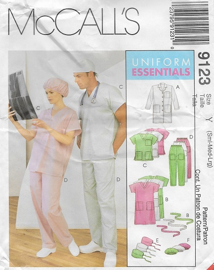 scrubs lab coat dress top pants hats sewing pattern