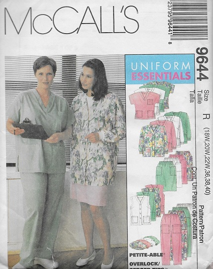 scrubs cardigan top pants skirt hat sewing pattern