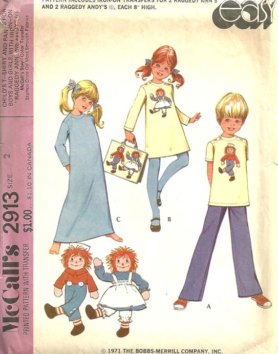 Raggedy Ann t-shirt pants sewing pattern
