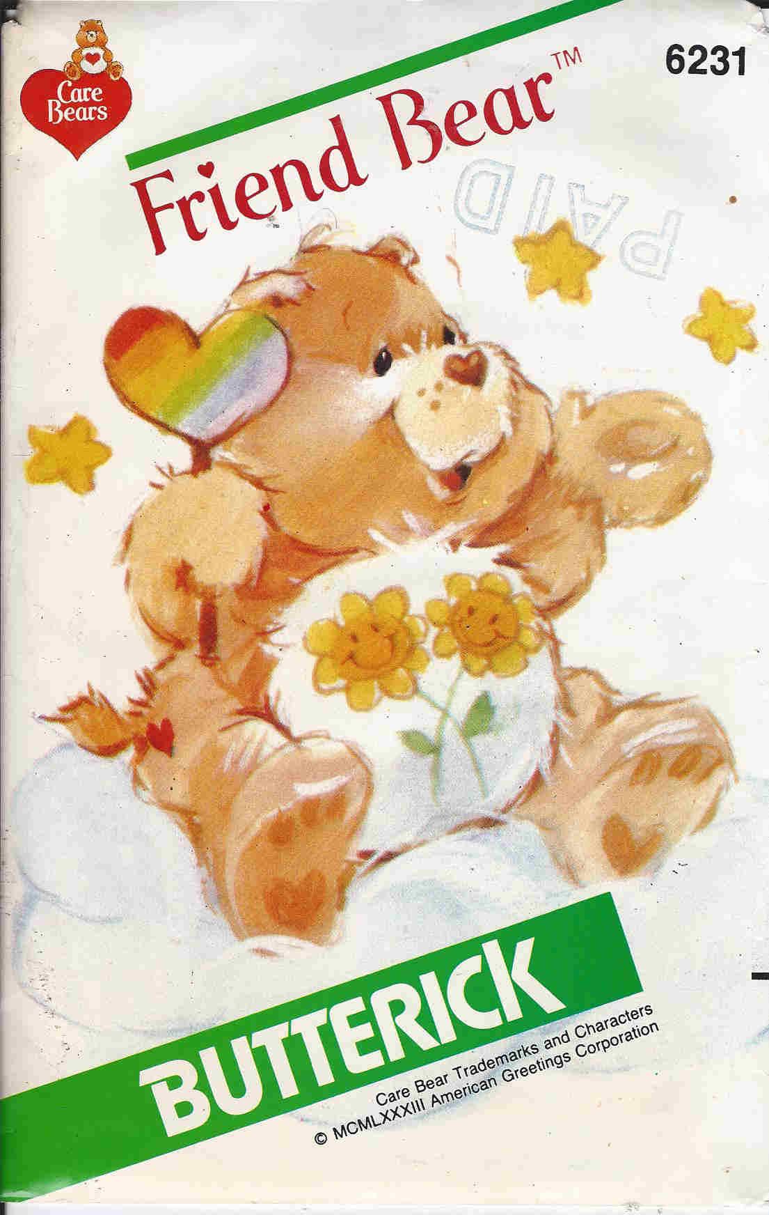 Friend Bear care bears sewing pattern