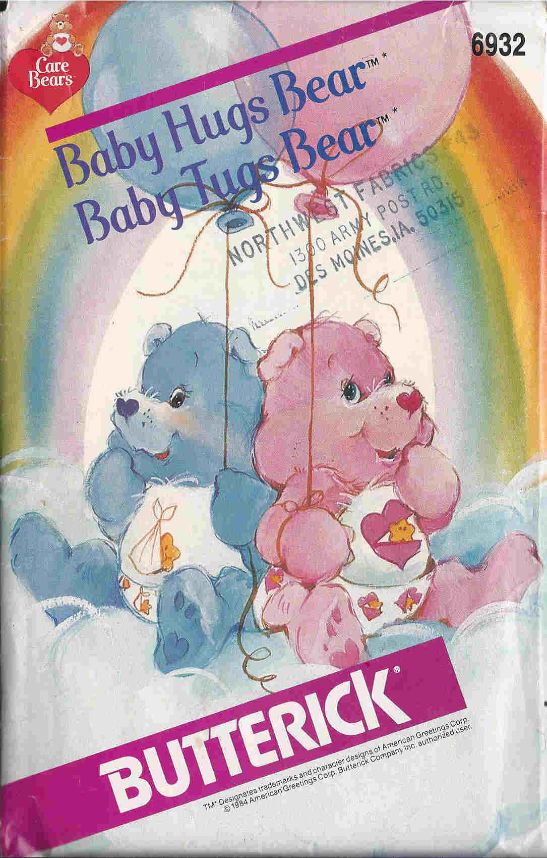 Care Bears sewing pattern Baby Hugs Baby Tugs