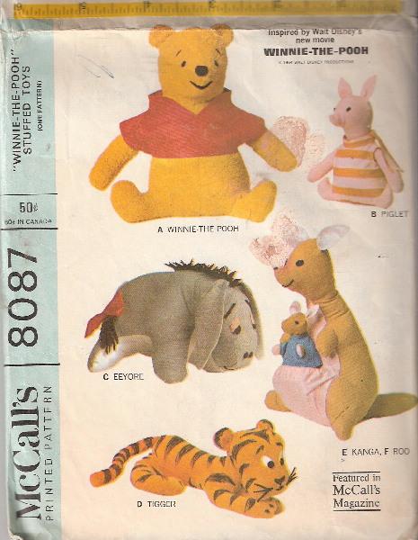 winnie pooh tigger eeyore piglet sewing pattern