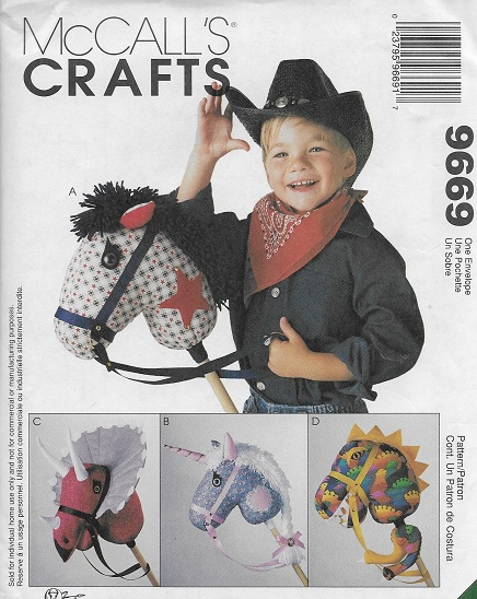 stick hobby horse unicorn dino sewing pattern
