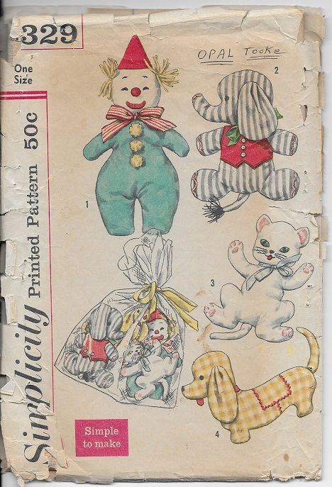 stuffed toy elephant clown cat dog sewing pattern