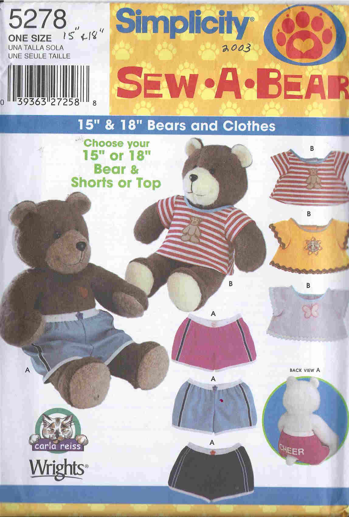 sew-a-bear clothing sewing pattern