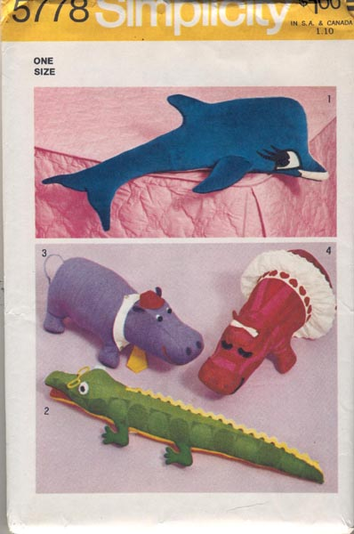 hippo alligator dolphin sewing pattern