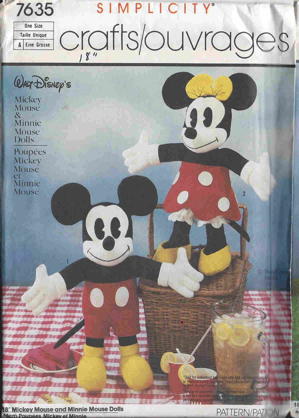 mickey mouse minnie mouse stuffed animal sewing pattern