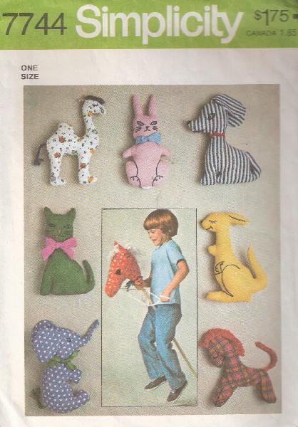 stuffed toys hobby horse rabbit cat dog elephant horse camel kangaroo sewing pattern