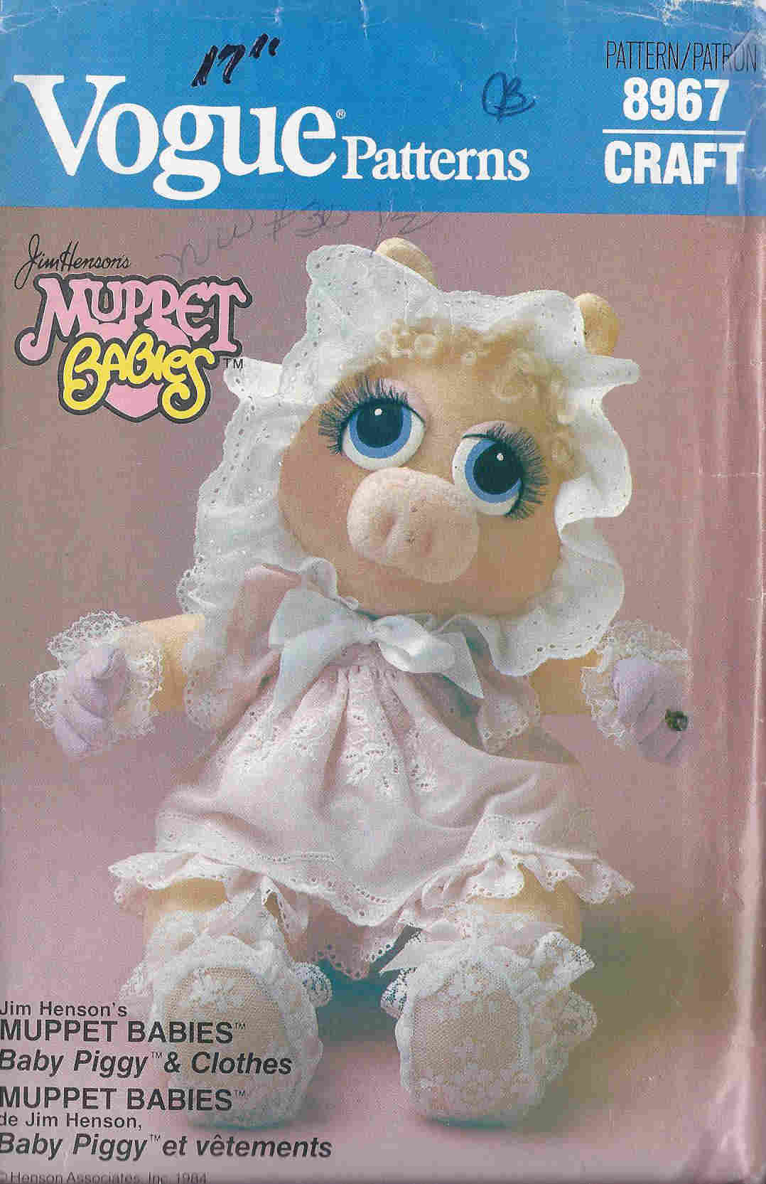 Muppet Baby Miss Piggy sewing pattern