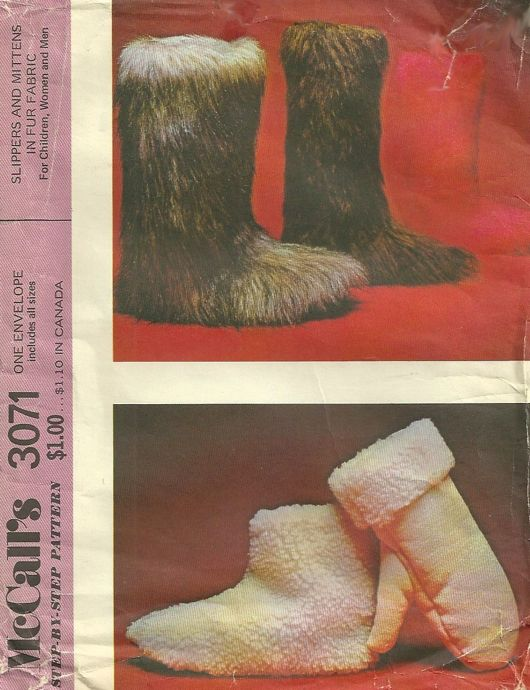fur slippers unisex sewing pattern