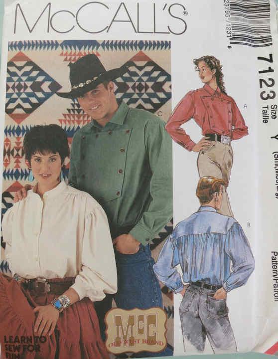 western shirt unisex sewing pattern