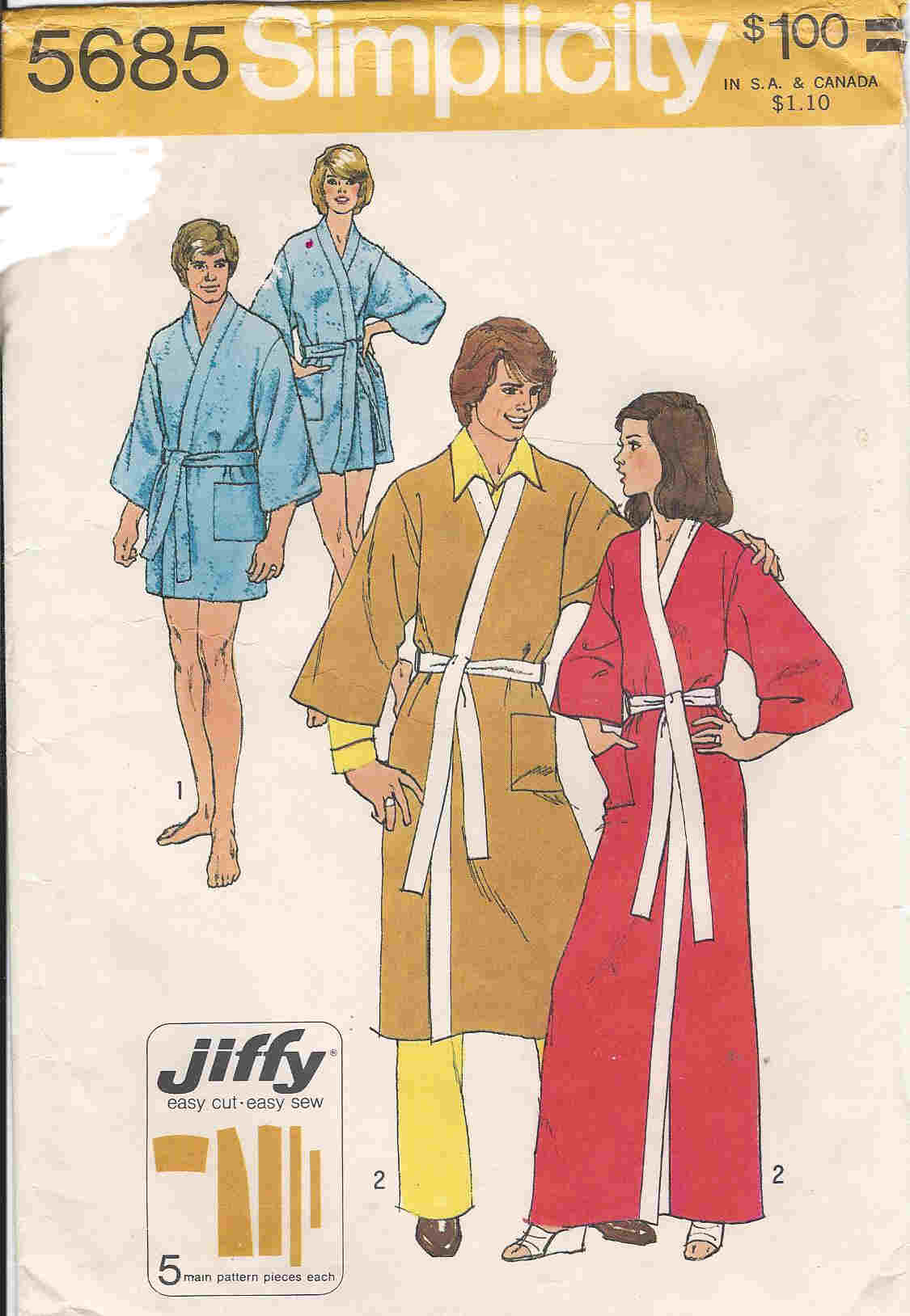 unisex robe sewing pattern