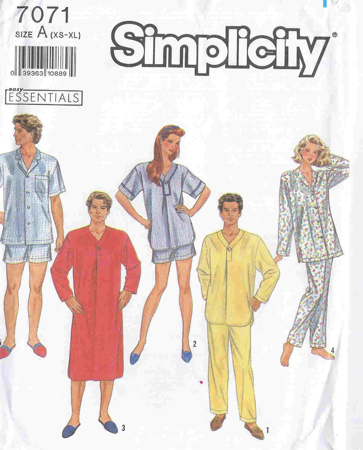 nightshirt pajamas unisex sewing pattern